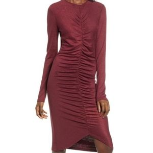 Leith Ruched Front Red Tannin Bodycon Dress S NWT